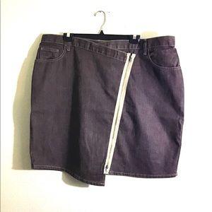 Ashley Stewart Asymmetrical Zipper Jean Skirt